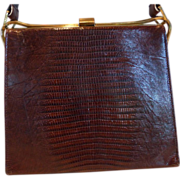Vintage DEITSCH Lizard Skin Purse Hand Bag  Mahogany
