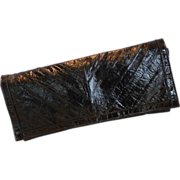 Vintage Black Eel Skin Clutch Hand Bag Purse