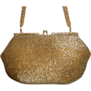 Vintage Gold Beaded Handbag Purse Clutch