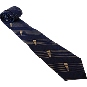 Classic Vintage Arrow Blue Silk Necktie