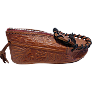 Vintage Tooled Leather Moccasin Coin Change Purse