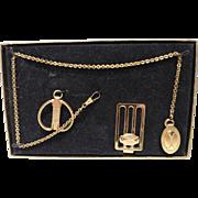 Men's Jewelry Set - Pocket Watch Fob & Chain, Money Clip & Key Chain - Original Box