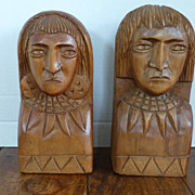 Vintage Hand Carved Wood Tribal Man & Woman Bookends Panama