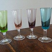 Vintage 1960's Italian Glass Colored Cordials Set of 4