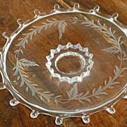 "Heisey Lariat Cut Pattern 7 1/2"" Footed Plate Dish A.H. Heisey & Co"