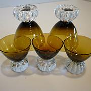 Mid-Century Swedish Hand Blown Crystal Liqueur Glasses Set of 5