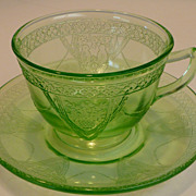SOLD Green Depression Federal Glass Parrot Sylvan Cup & Saucer