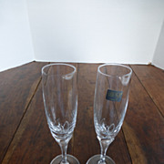 Vintage Mikasa Schott-Zwiesel Crystal Petal Stem Champagne Flutes PAIR