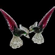 SOLD Stunning Large Venetian Murano Glass Pheasants PAIR