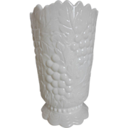 Imperial Milk Glass Grape Footed Vase