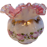 Fenton Peach Crest Charleton Roses Hand Painted Ruffled Edge Vase