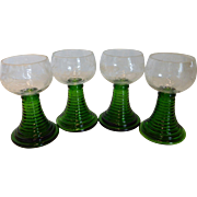 Vintage German Crystal Wine Goblets w/ Emerald Green Ribbed Stem – Set of 4