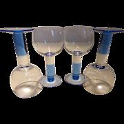 Vintage Blue to Clear Stem Wine Goblets Set of 4