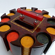 SOLD Vintage Catalin Bakelite 275 Poker Chips and Inlaid Wood Caddy w/ Catalin Handle
