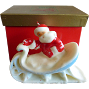 "Tavern Novelty Candle, Santa In Sleigh, Socony-Vacuum Oil Company 5"" Original Box"