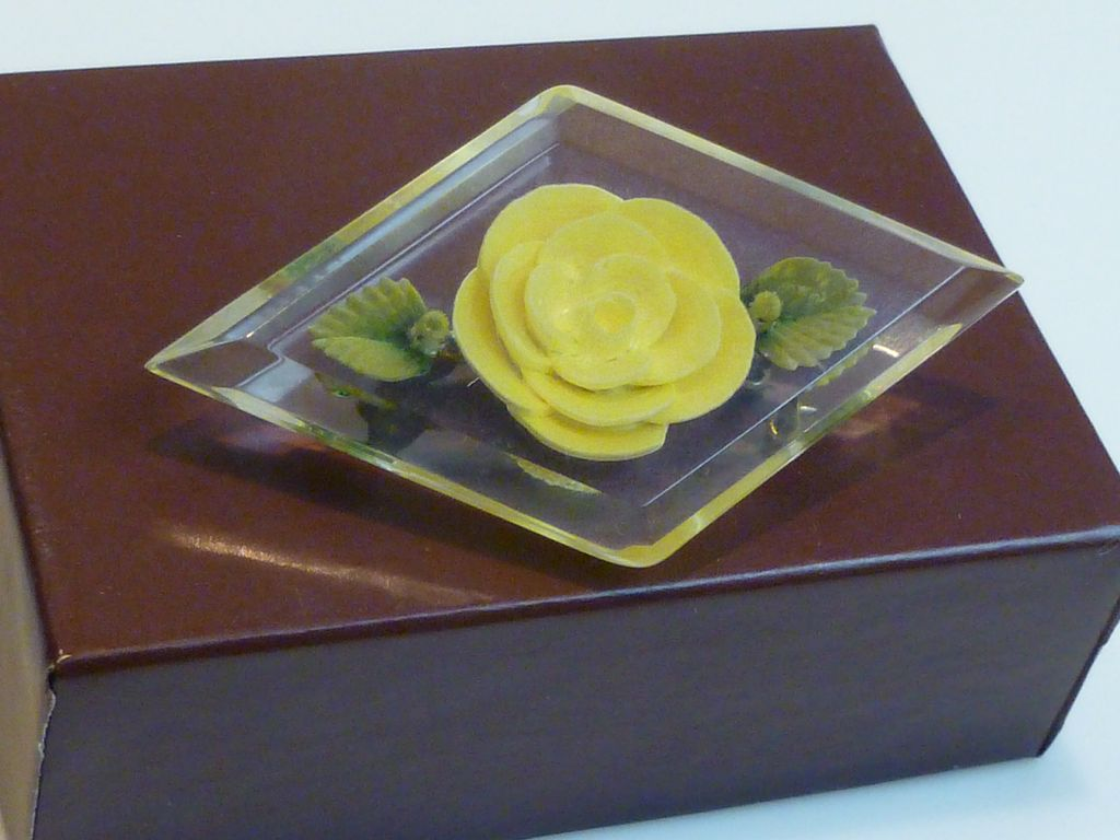 Vintage Lucite Encased Rose Brooch Pin