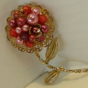 Big Pink Faux Pearl Cluster Flower Blossom Brooch