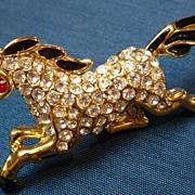 Vintage Rhinestone and Enamel Horse Figural Pin Brooch