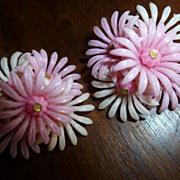 Vintage 1950's Plastic Flower Earrings