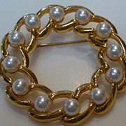 Napier Gold Tone Faux Pearl Circle Pin Brooch