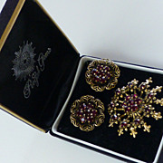 Vintage Demi-Parure Synthetic Garnet Brooch & Earrings