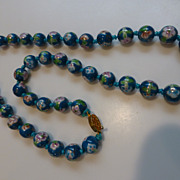 Vintage Chinese Painted Glass Bead Necklace