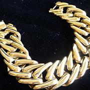 Signed MONET Bright Gold Tone Fancy Link Bracelet