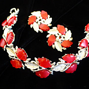 Red Thermoset Plastic Leaf Bracelet and Earrings Set