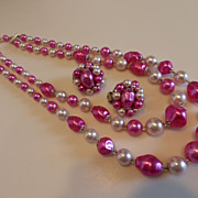 Pink Faux Pearl Necklace and Earrings Set Demi-Parure Japan