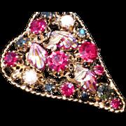 Fabulous Austria Crystal Rhinestone Heart Brooch