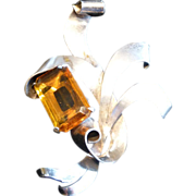 Walter Lampl Signed Sterling Silver and Topaz Glass Gemstone Brooch Pin