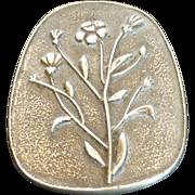 Swedish Modernist Wild Flower Pewter Pin Brooch Signed