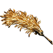 1940 Coro Large Stylized Frond Brooch 3.5 Inches
