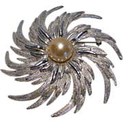 Large Sarah Coventry Silver Tone Swirling Pinwheel with Faux Pearl Brooch