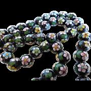 Vintage Chinese Black Cloisonné Bead Necklace