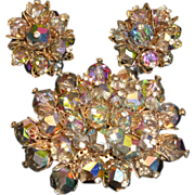 Vintage Laguna Big Watermelon Aurora Borealis Brooch & Cluster Earrings