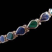 Vintage 950 Sterling Silver Lapis and Malachite Bracelet