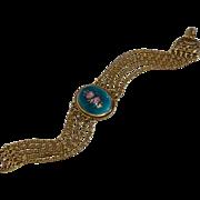 Vintage Goldette Enamel Guilloche Victorian Revival Multi-Strand Bracelet Signed