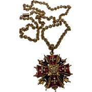 R.J. Graziano Signed Enameled Crystal Rhinestone Maltese Cross Pendant Necklace
