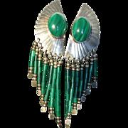 Vintage Navajo Indian Sterling Silver Malachite Earrings