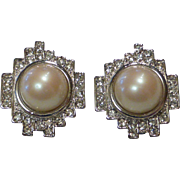 Vintage Monet Art Deco Styled Faux Mabe Pearl and Rhinestone Clip Earrings