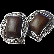 Vintage Signed Oscar de la Renta Wood and Pewter Earrings