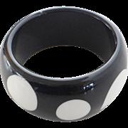Vintage Lucite Bangle Bracelet, Black & White Polka Dot