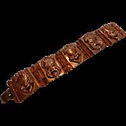 Vintage Theatre Masks Linked Panels Copper Bracelet