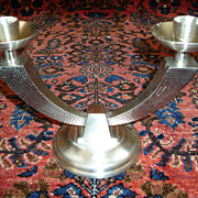 Vintage Royal Selangor Pewter Art Deco Style Double Candlestick
