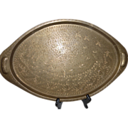 Vintage India Engraved Brass Serving Tray Platter