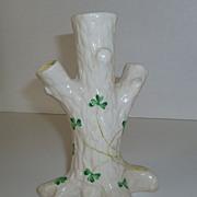 Irish Belleek Tree Trunk Triple Bud Vase Shamrocks