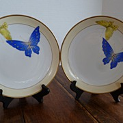 Nippon Morimura Nippon Hand Painted Butterfly Plates - Pair