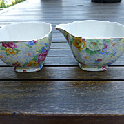 """Lord Nelson Ware Chintz """"Rose Time"""" Creamer w Open Sugar England Set"""