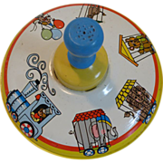 Vintage Ohio Art Spinning Top with Circus Train